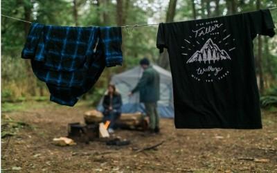 tent campsite with clothesline