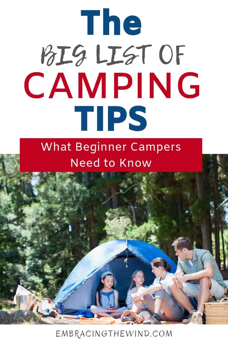 Big list of camping tips with picture of family camping