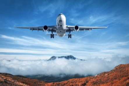 airplane and mountains