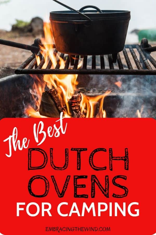 Cooking with dutch oven for camping over a campfire