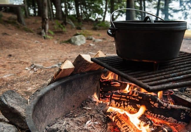 dutch oven over camp fire