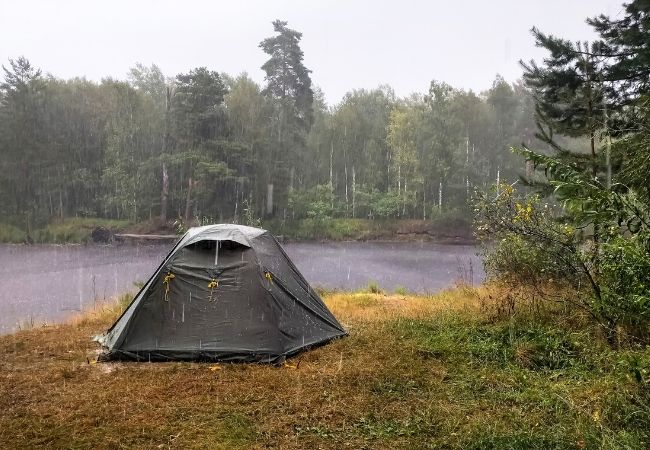 Camping tent in the rain