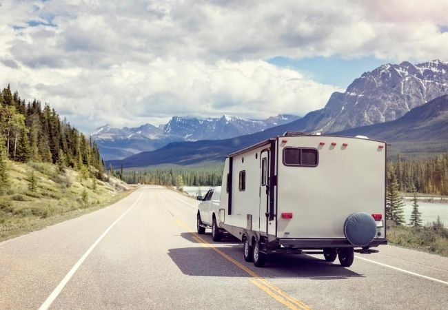 RV camper on the road