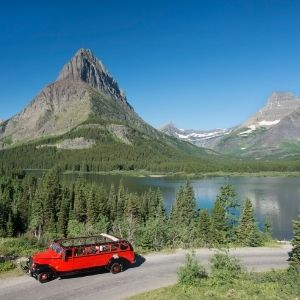 Red bus tour in Glacier National Park